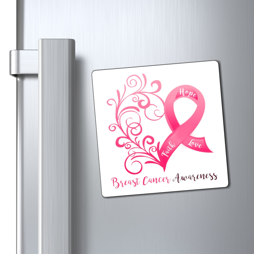 Breast Cancer Awareness Magnet (White Background) (3 Sizes Available)