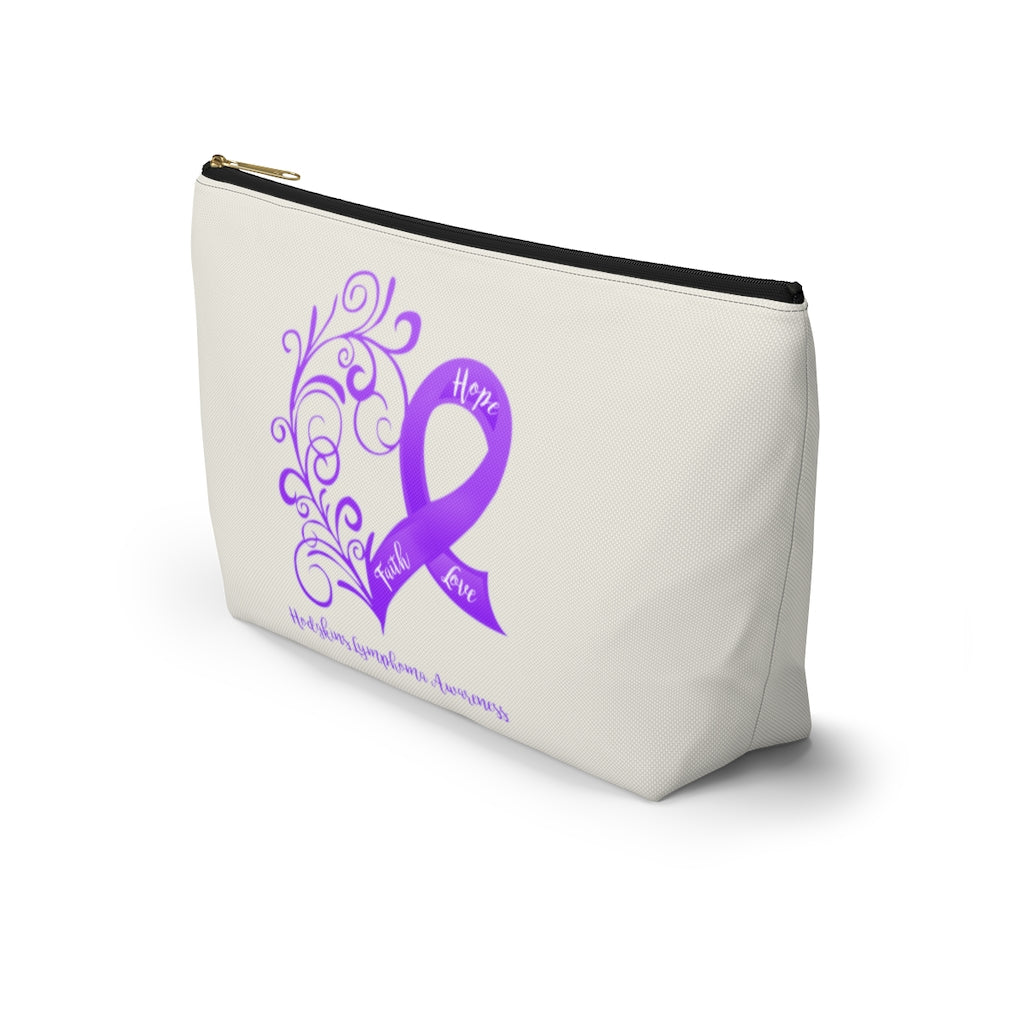 "Hodgkins Lymphoma Awareness Large ""Natural"" T-Bottom Accessory Pouch (Dual-Sided Design)"