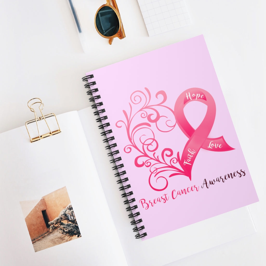 Breast Cancer Awareness Heart Pink Spiral Journal - Ruled Line
