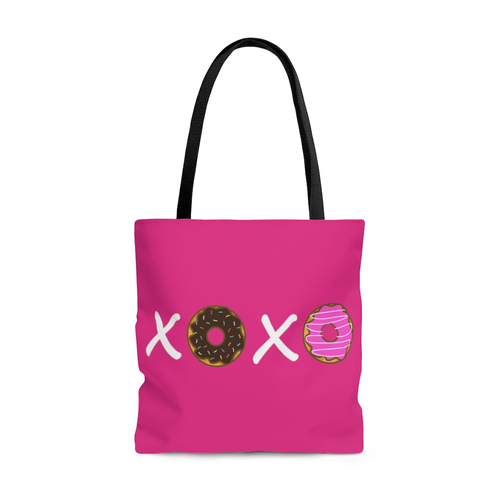 XOXO Donuts Large Raspberry Tote Bag (Dual-Sided Design)