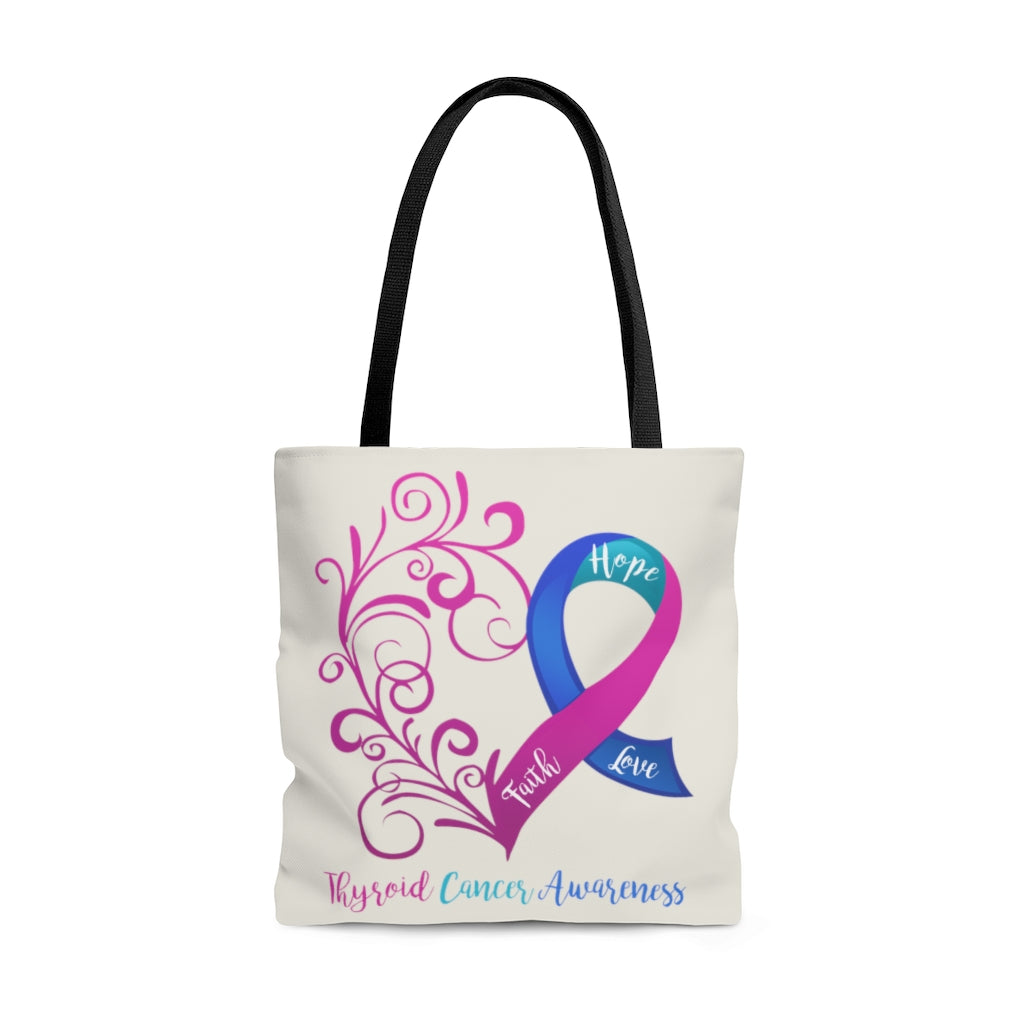 "Thyroid Cancer Awareness Large ""Natural"" Tote Bag (Dual Sided Design)"