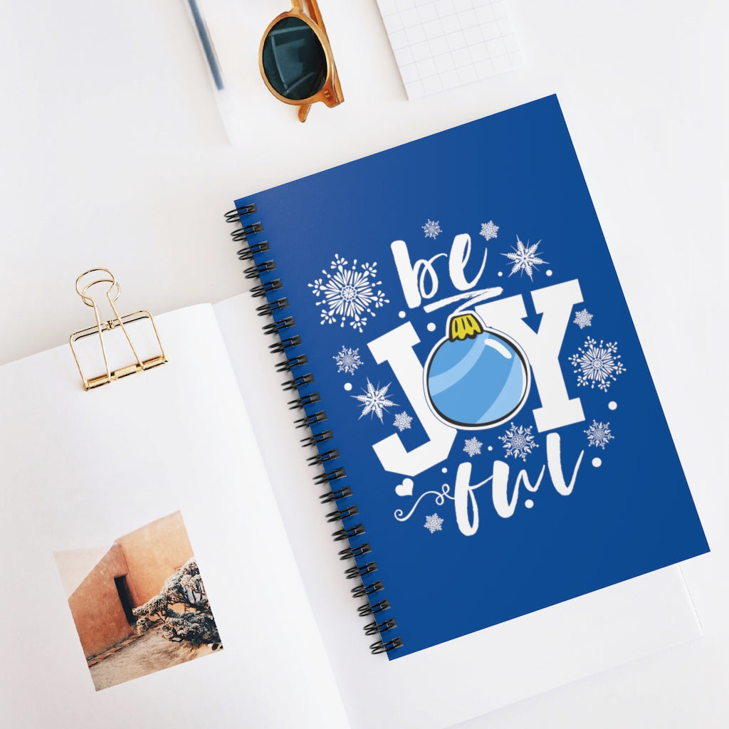be Joyful Ornament Royal Blue Spiral Journal - Ruled Line