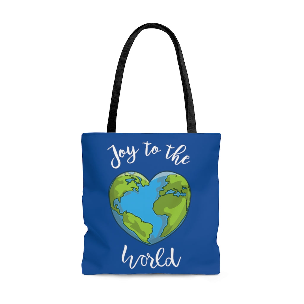 Joy to the World Royal Blue Tote Bag (Dual-Sided Design)