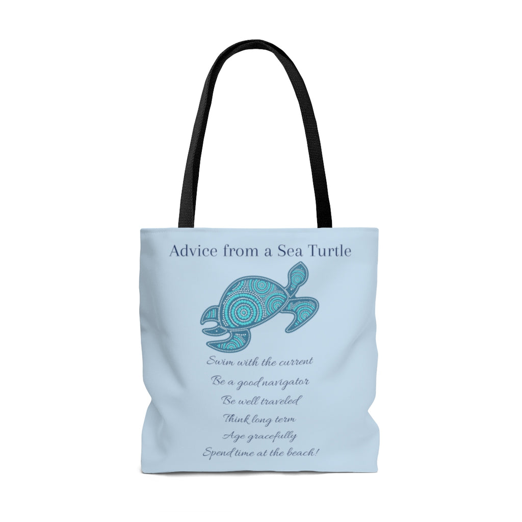 """Advice From a Sea Turtle"" Large Light Blue Tote Bag (Dual-Sided Design)"