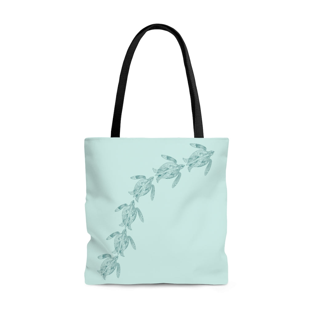 "Swimming Sea Turtles Large ""Light Teal"" Tote Bag (Dual-Sided Design)"