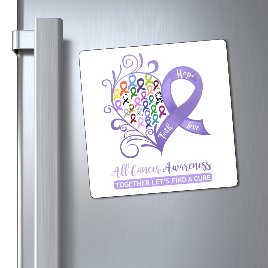 All Cancer Awareness Heart Magnet (White Background) (3 Sizes Available)