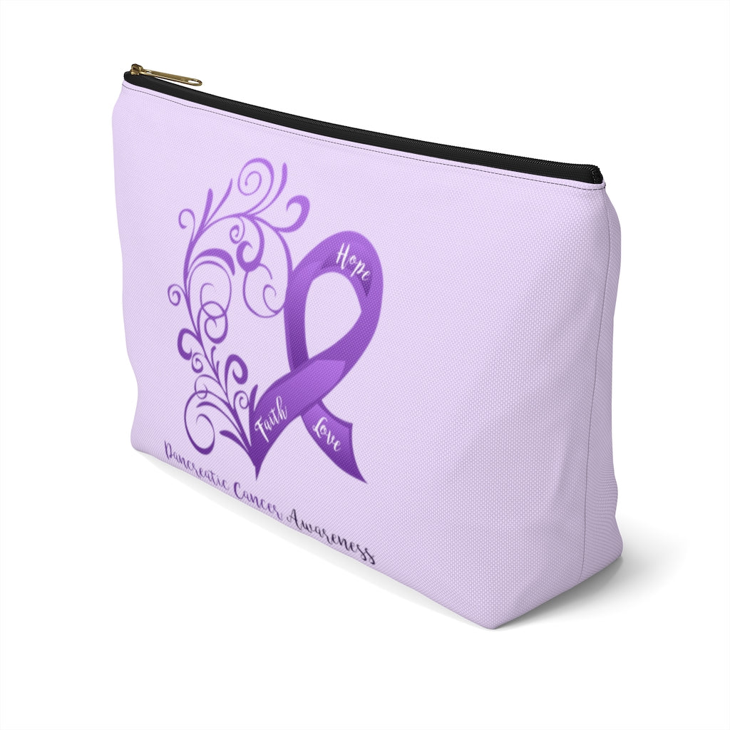 Pancreatic Cancer Awareness Large T-Bottom Accessory Pouch (Dual-Sided Design)