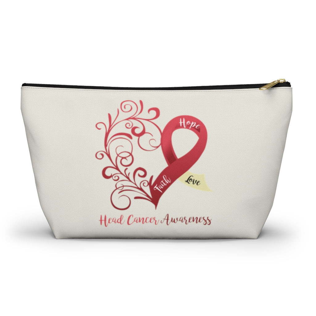 "Head Cancer Awareness Large ""Natural"" T-Bottom Accessory Pouch (Dual-Sided Design)"