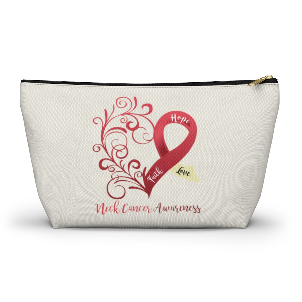 "Neck Cancer Awareness Large ""Natural"" T-Bottom Accessory Pouch (Dual-Sided Design)"