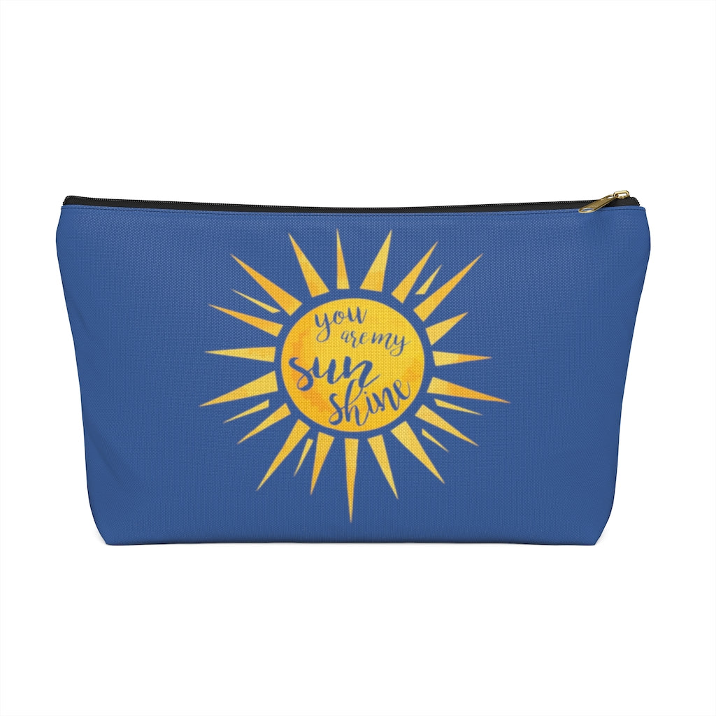 You Are My Sunshine Large Dark Blue T-Bottom Accessory Pouch (Dual-Sided Design)
