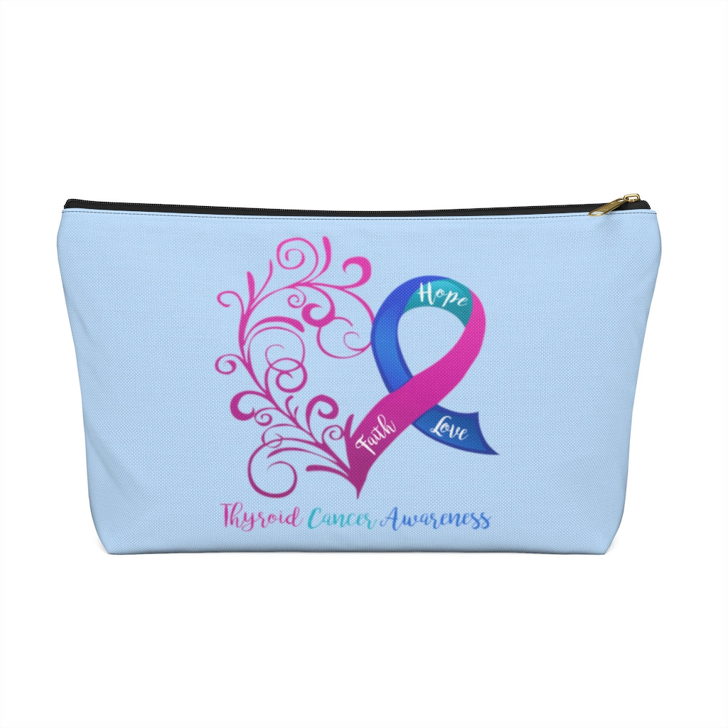 Thyroid Cancer Awareness Large T-Bottom Accessory Pouch (Dual-Sided)