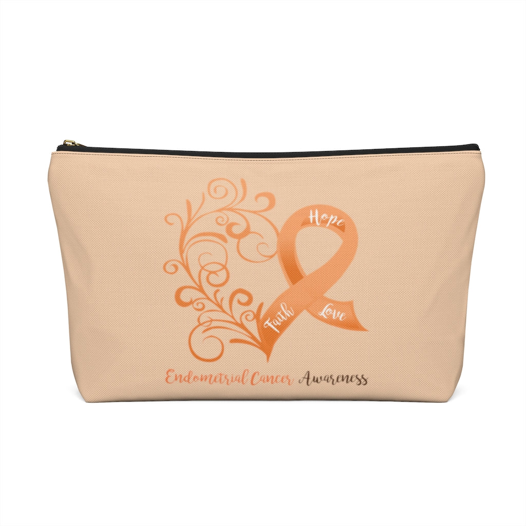 Endometrial Cancer Awareness Large T-Bottom Accessory Pouch (Dual-Sided Design)