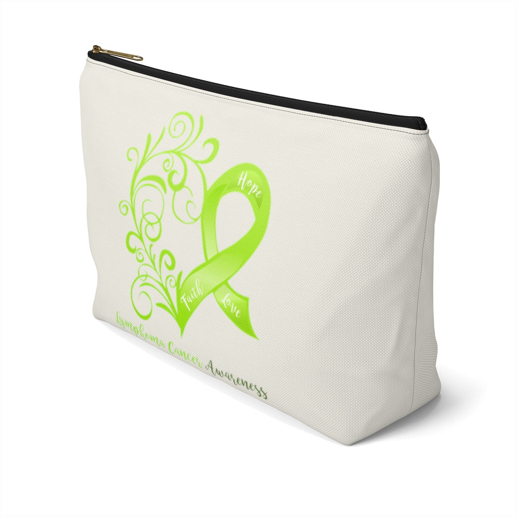"Lymphoma Awareness Large ""Natural"" T-Bottom Accessory Pouch (Dual-Sided Design)"