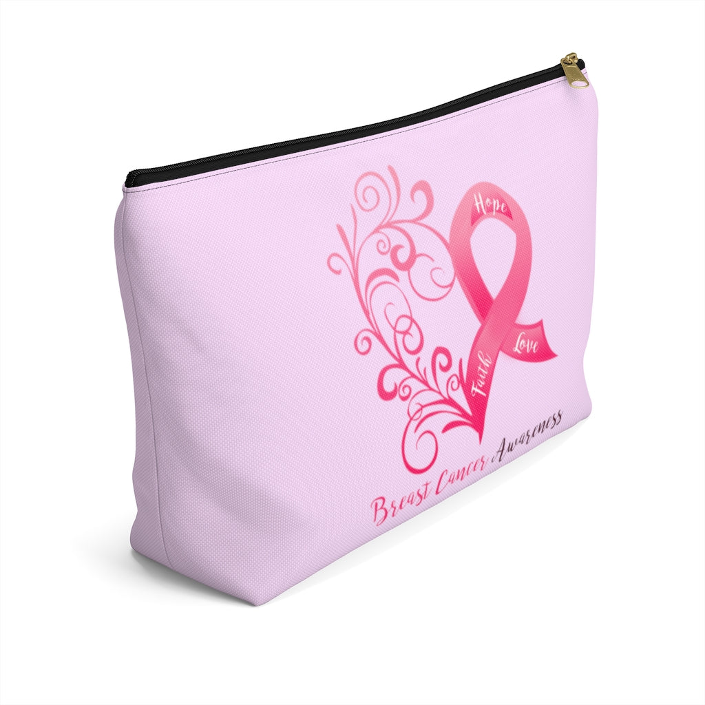 "Breast Cancer Awareness Large ""Pink"" T-Bottom Accessory Pouch (Dual-Sided Design)"