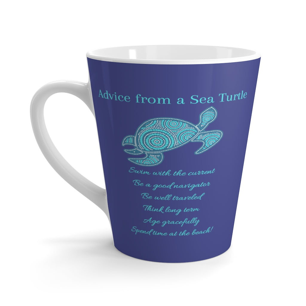"""Advice from a Sea Turtle"" (Royal Blue) Latte Mug (12 oz.)"