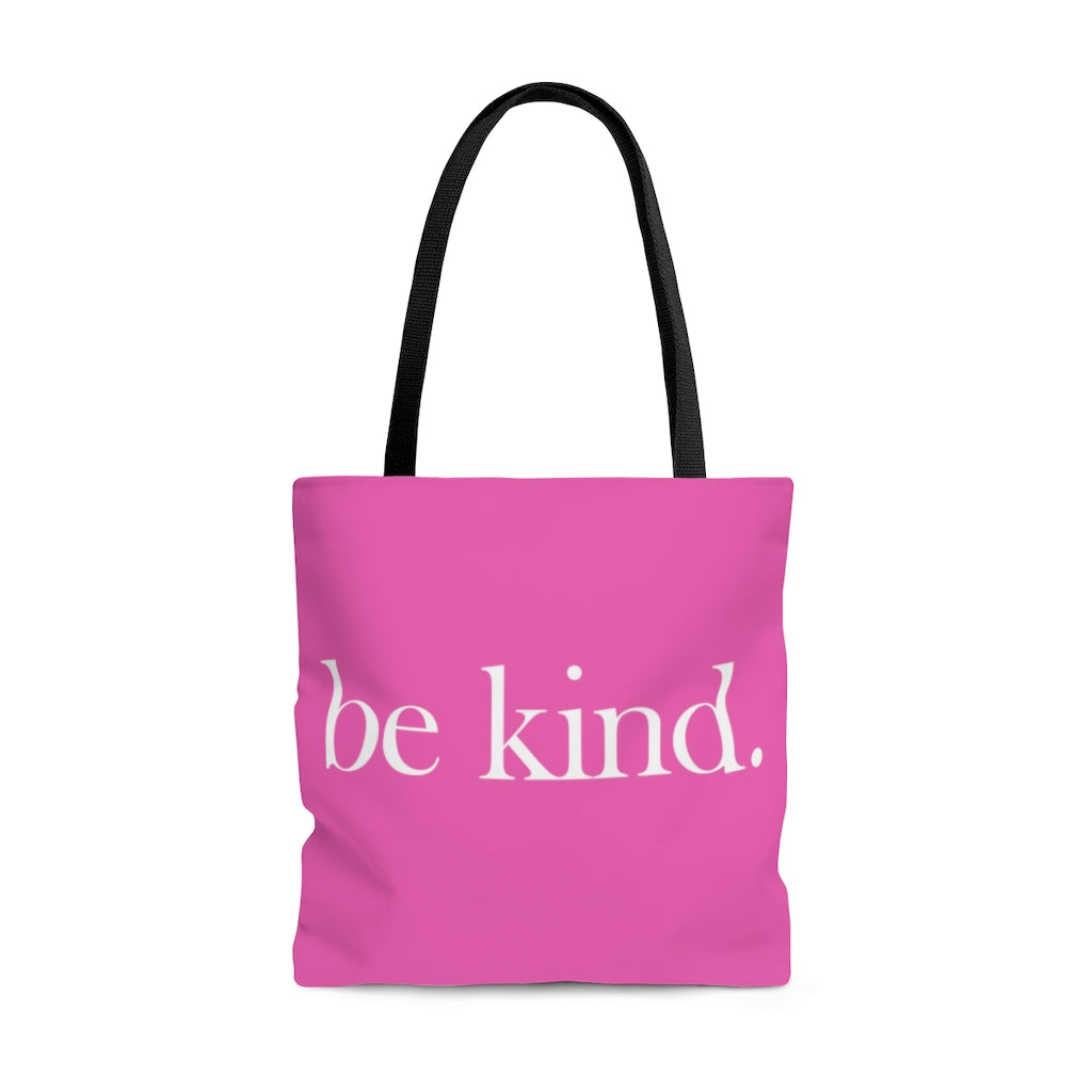 be kind. Large Dark Pink Tote Bag (Dual-Sided Design)