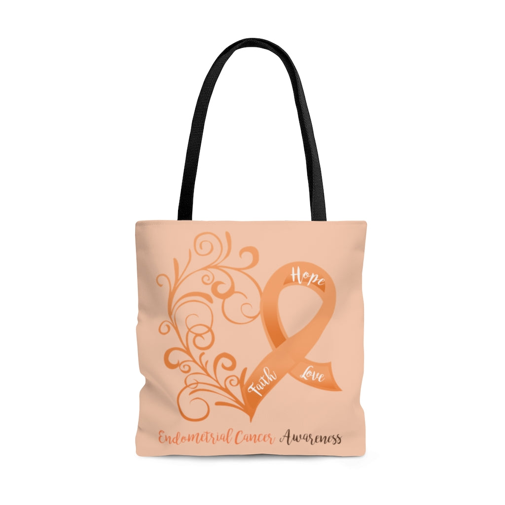 Endometrial Cancer Awareness Large Tote Bag (Dual-Sided Design)