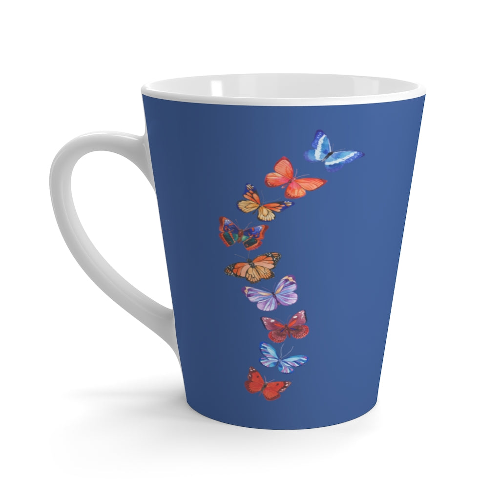 Butterflies in Flight Dark Blue Latte Mug (12 oz.)