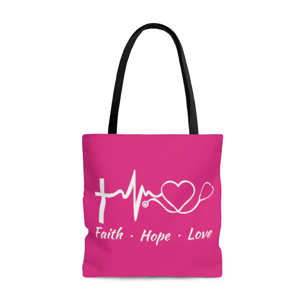 Faith Hope Love Stethoscope Large Raspberry Tote Bag
