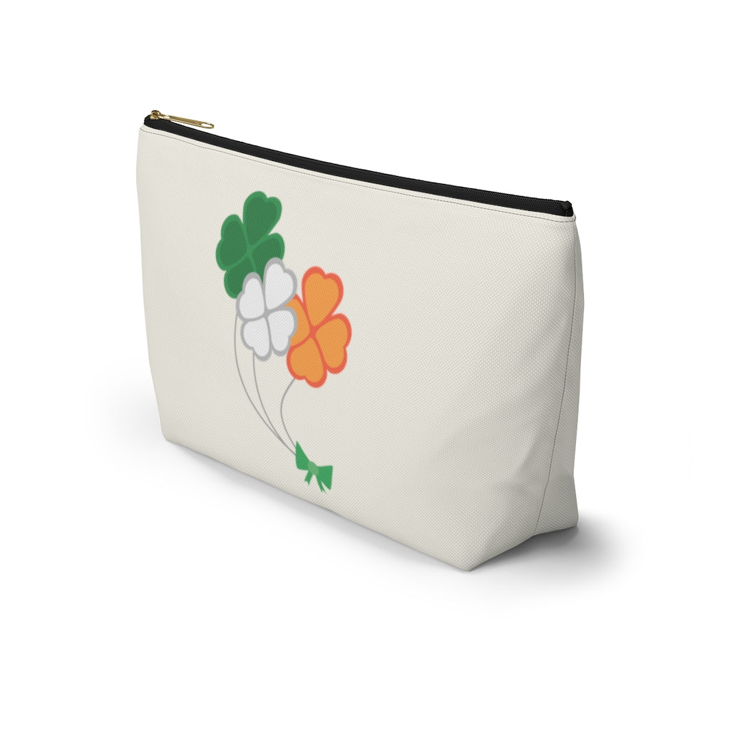 St. Patrick's Day Irish Flag Shamrock Bouquet Large T-Bottom Accessory Pouch (Dual-Sided Design)