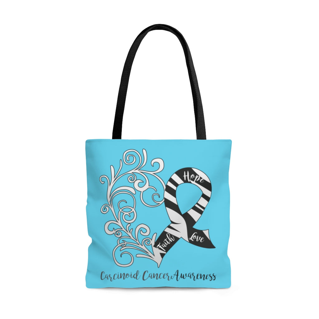 Carcinoid Cancer Awareness Large Aqua Tote Bag (Dual-Sided Design)