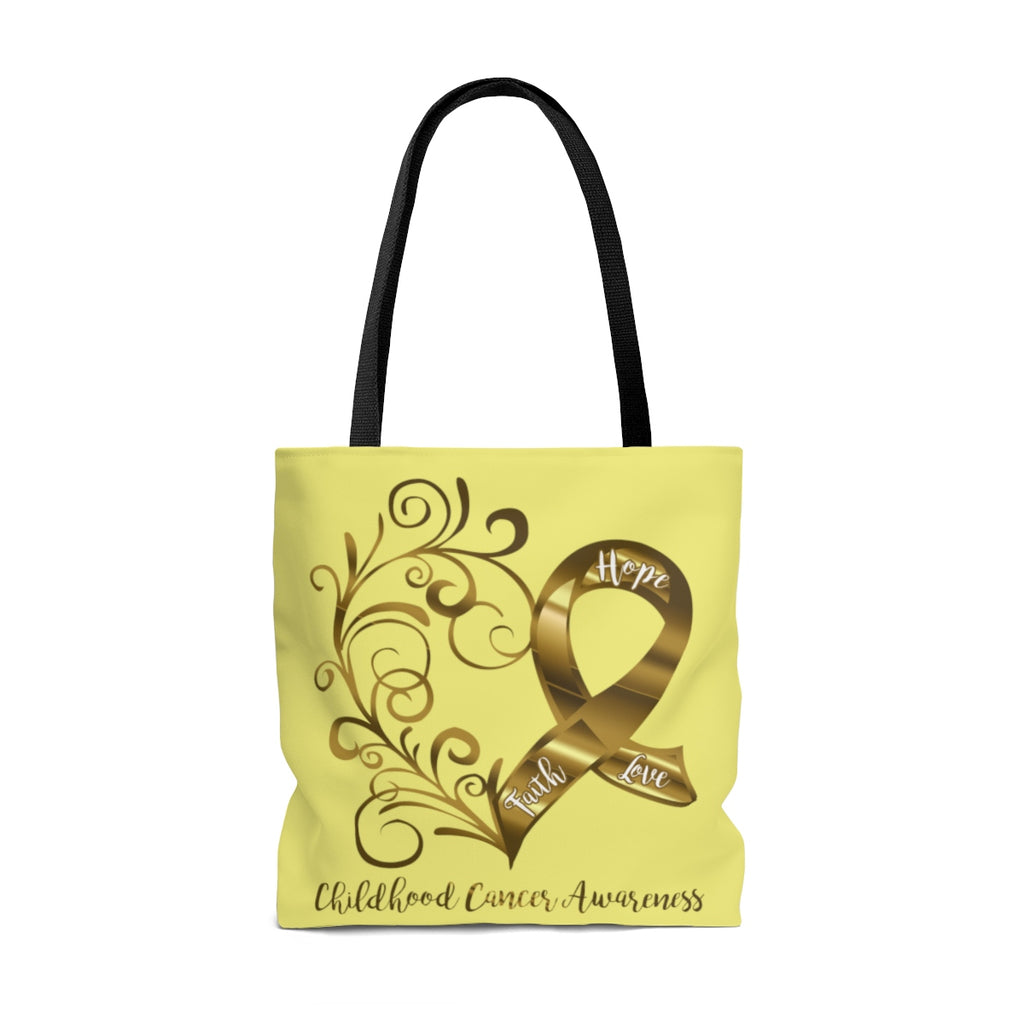 Childhood Cancer Awareness Large Yellow Tote Bag (Dual-Sided Design)