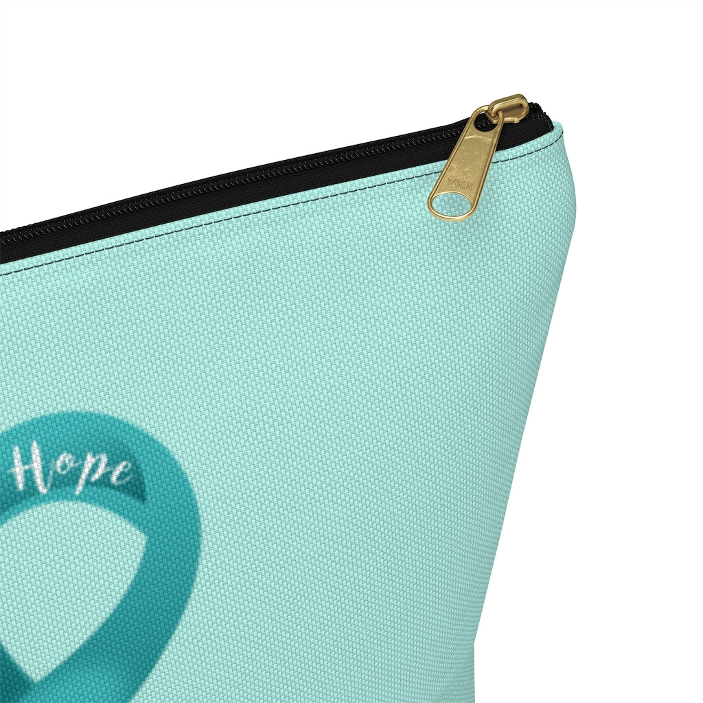 Ovarian Cancer Awareness Large T-Bottom Accessory Pouch (Dual-Sided Design)