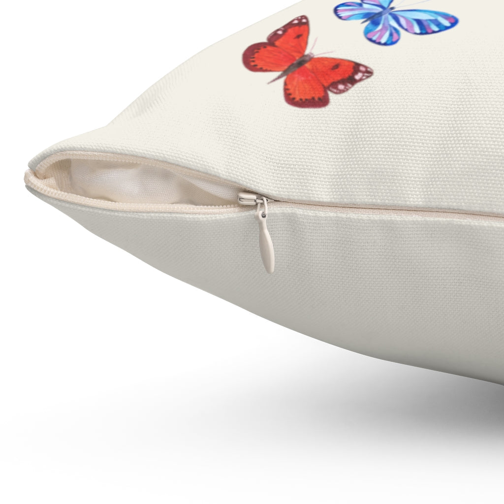 "Butterflies in Flight ""Natural"" Square Pillow (20 X 20)"