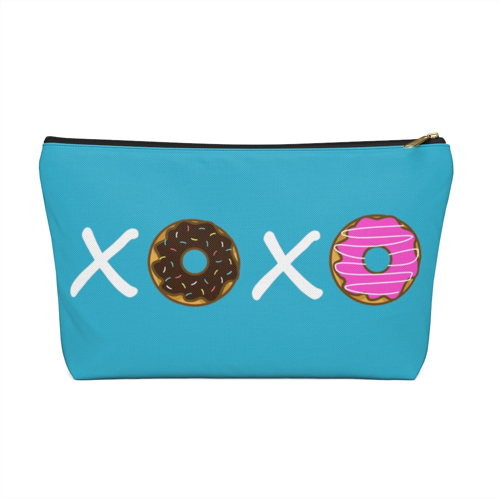 XOXO Donuts Large Aqua T-Bottom Accessory Pouch (Dual-Sided Design)
