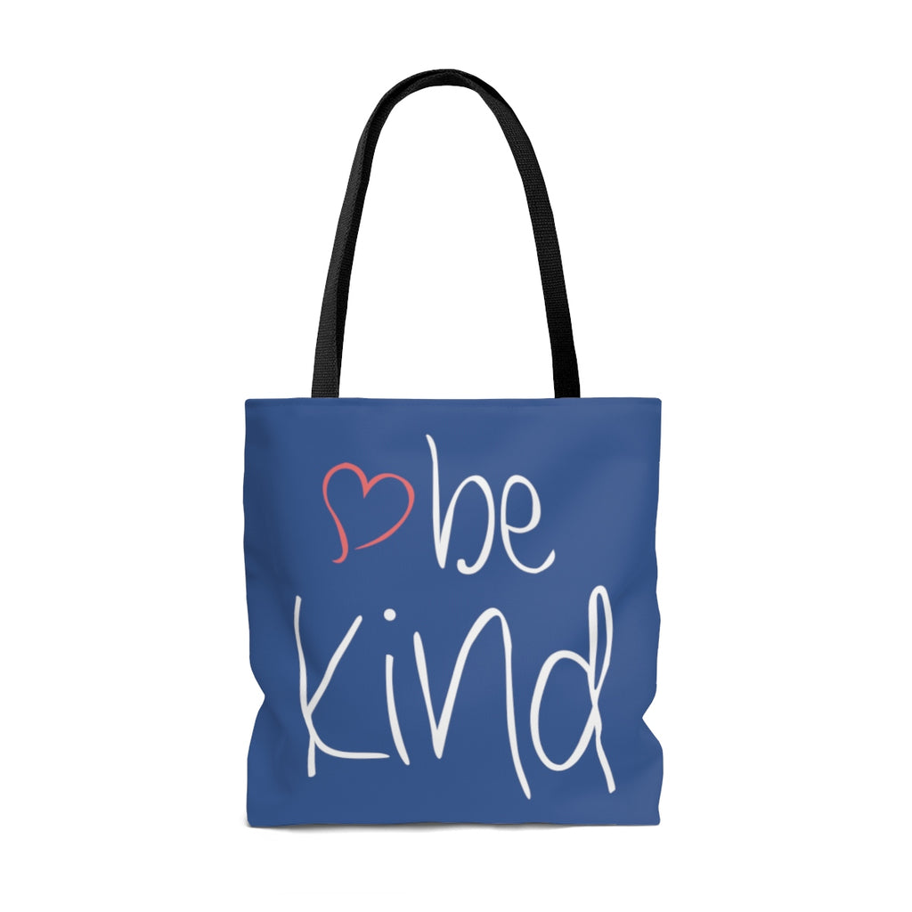 be kind Heart Large (Royal Blue) Tote Bag (Dual-Sided Design)