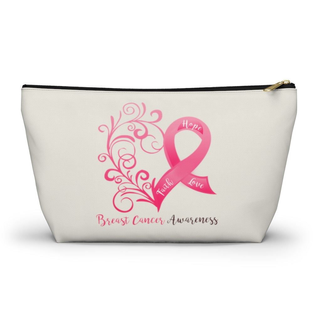 "Breast Cancer Awareness Large ""Natural"" T-Bottom Accessory Pouch (Dual-Sided Design)"