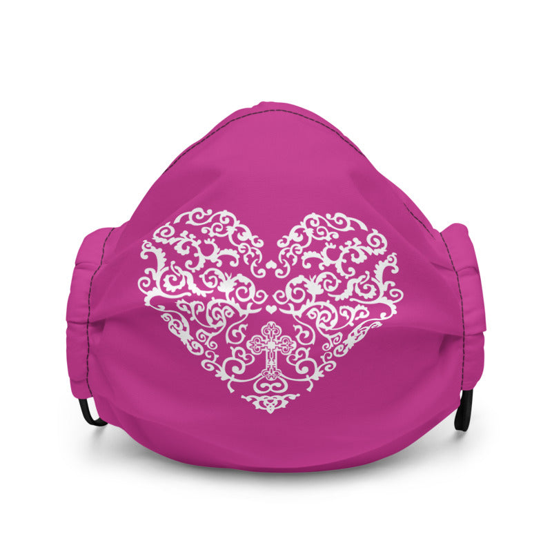 Cross in Filigree Heart Non-Medical Premium Face Mask (Dark Pink) (NON-RETURNABLE)