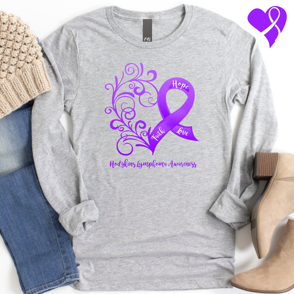 Hodgkins Lymphoma Awareness Long Sleeve Tee (Several Colors Available)