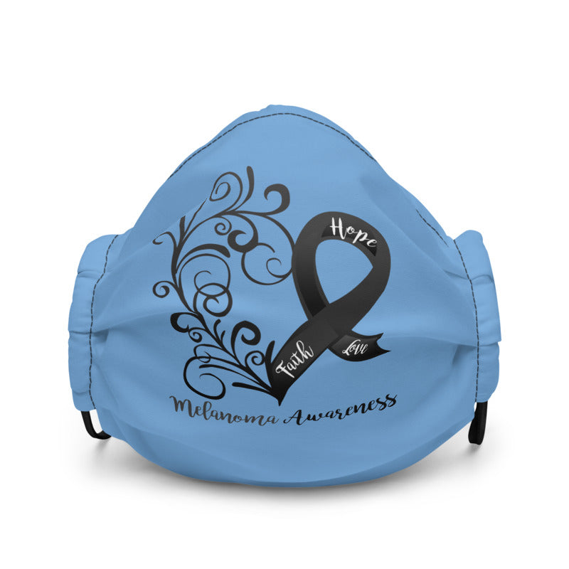 Melanoma Awareness Heart Non-Medical Premium Face Mask (Light Blue)(NON-RETURNABLE)