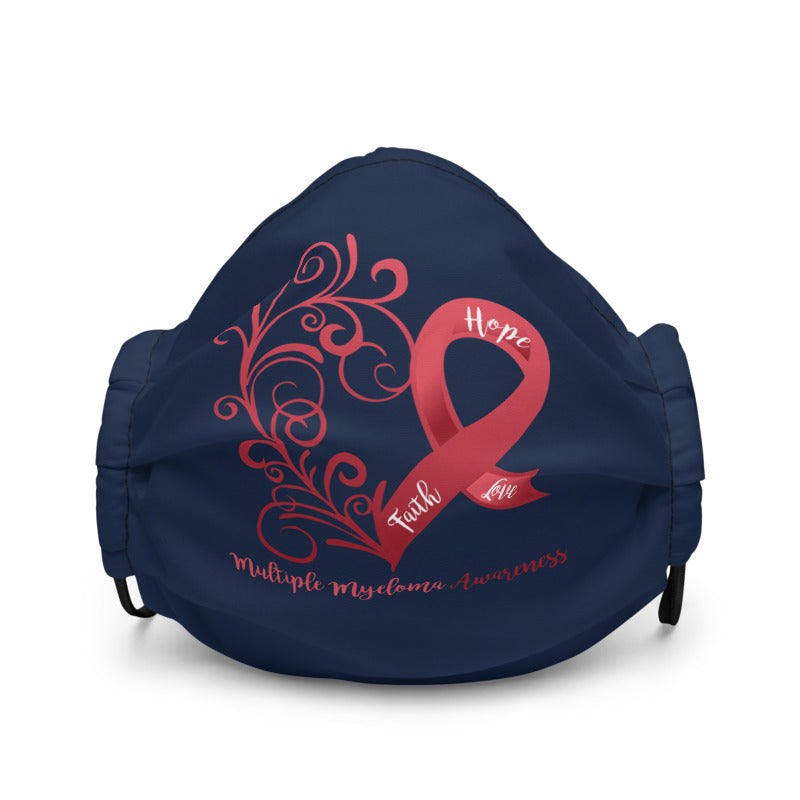 Multiple Myeloma Awareness Heart Non-Medical Premium Face Mask (Navy)(NON-RETURNABLE)