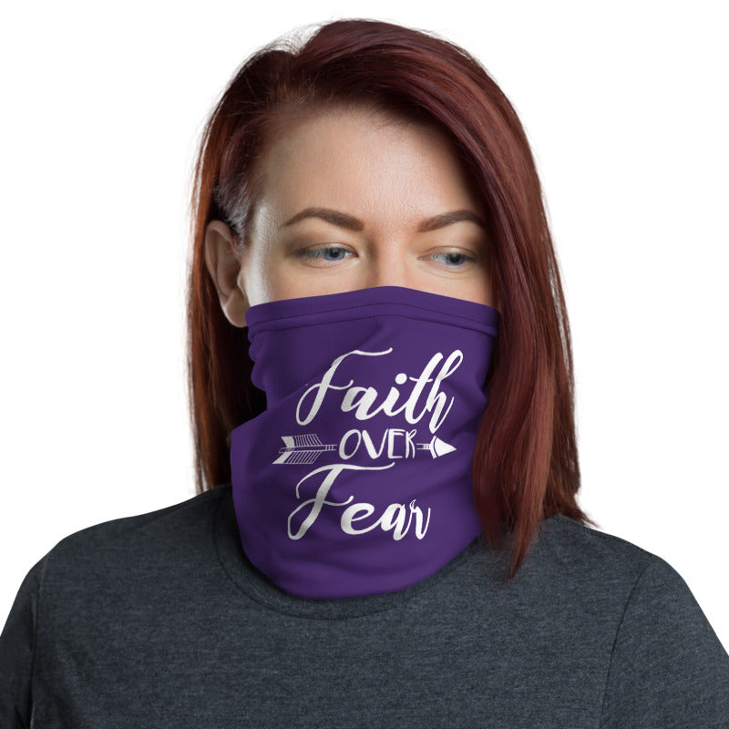 Faith Over Fear Arrow Neck Gaiter / Face Covering (Purple) - (Quick Ship) - NON-RETURNABLE