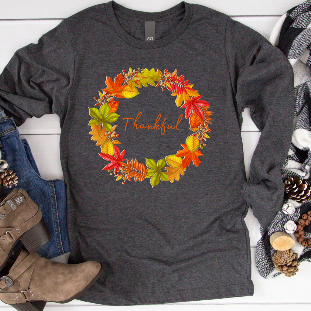 Thankful Autumn Leaf Wreath Long Sleeve Tee - Dark Colors