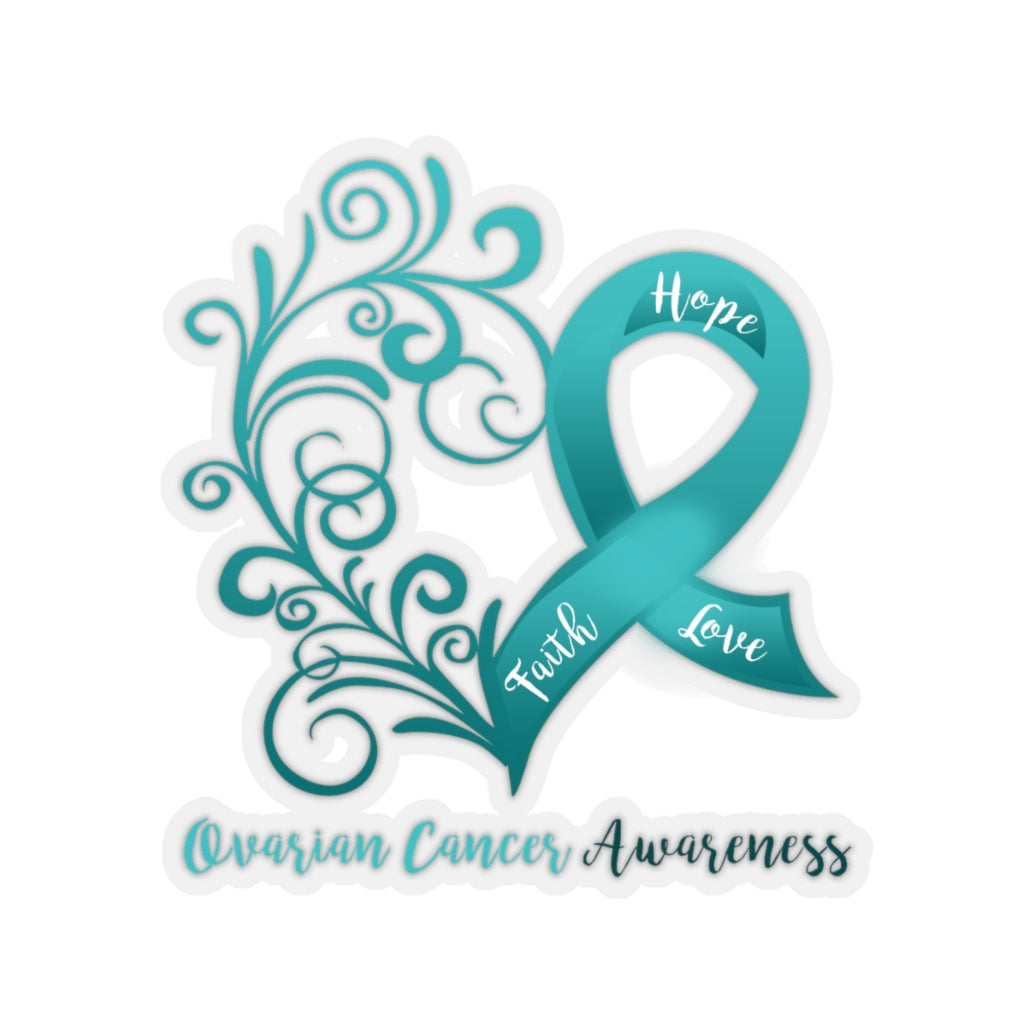 Ovarian Cancer Awareness Heart Car Sticker (6 X 6)