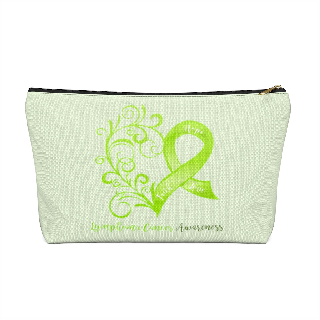 Lymphoma Awareness Large T-Bottom Accessory Pouch (Dual-Sided Design)