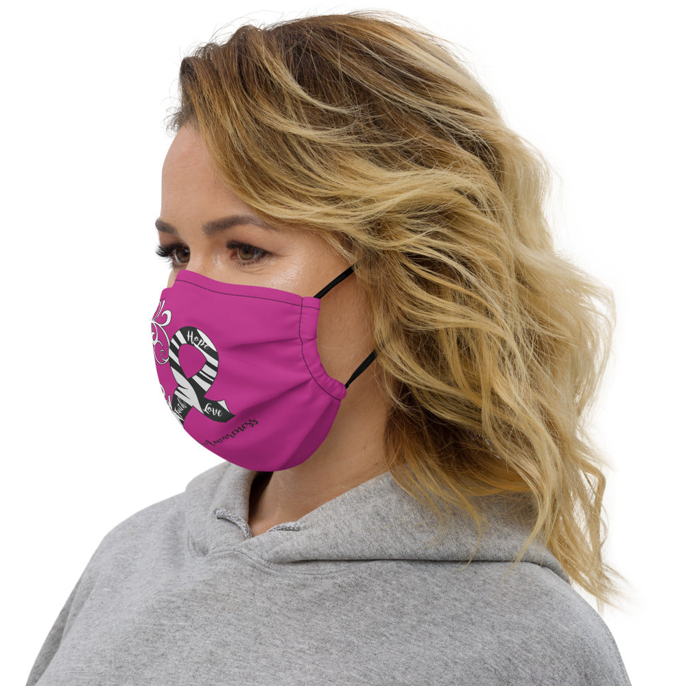 Carcinoid Cancer Awareness Heart Non-Medical Premium Face Mask (Dark Pink) (NON-RETURNABLE)