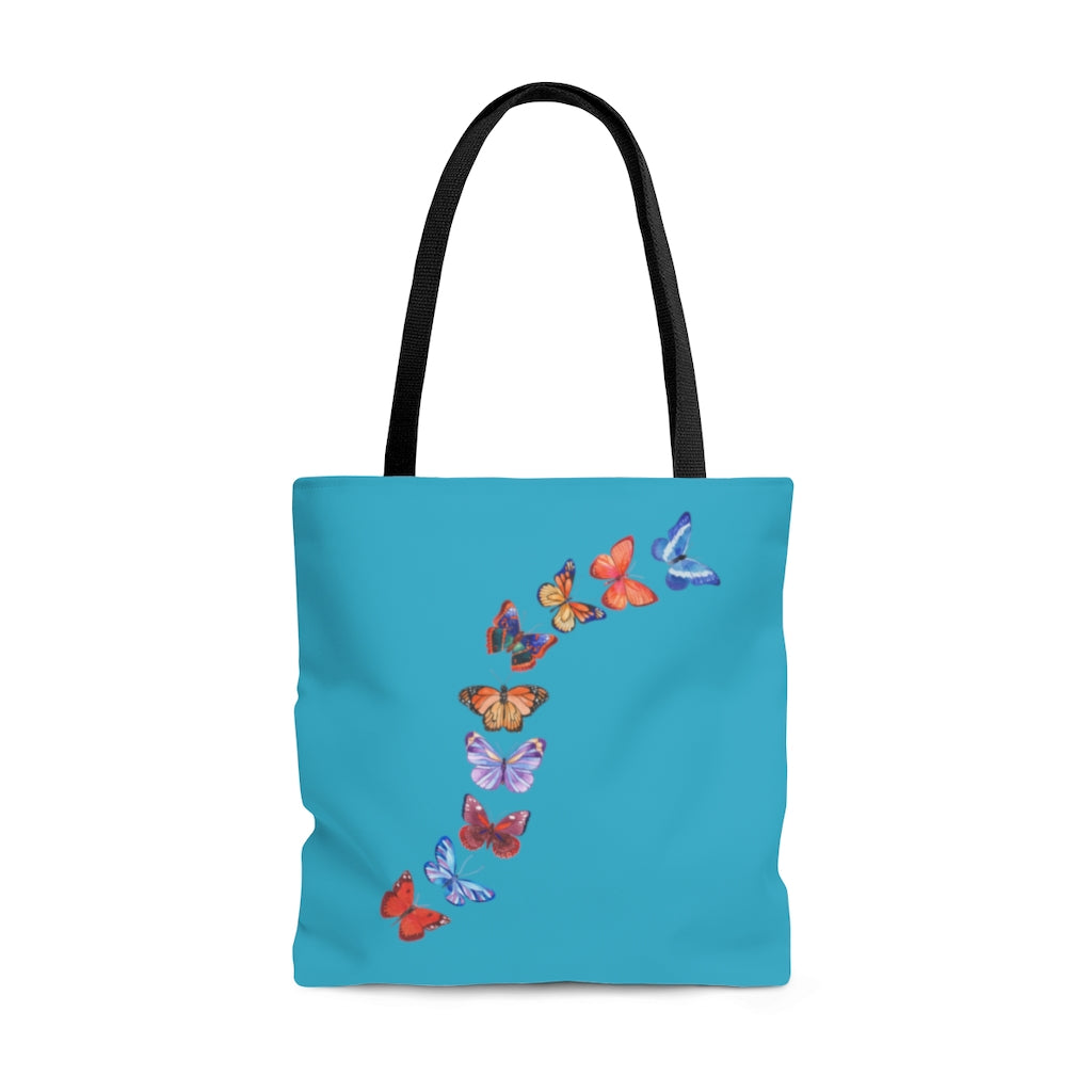 "Butterflies in Flight Large ""Aqua"" Tote Bag (Dual-Sided Design)"