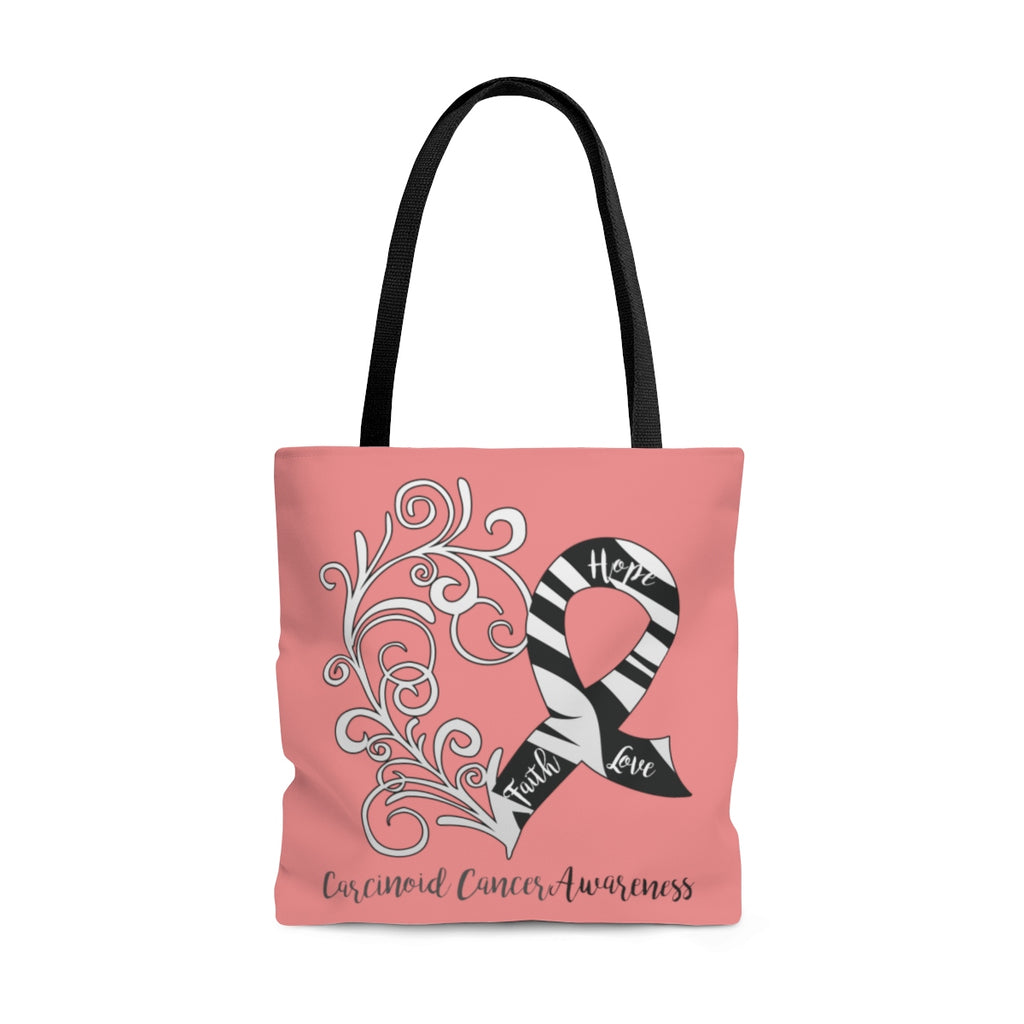 Carcinoid Cancer Awareness Large Coral Tote Bag (Dual-Sided Design)