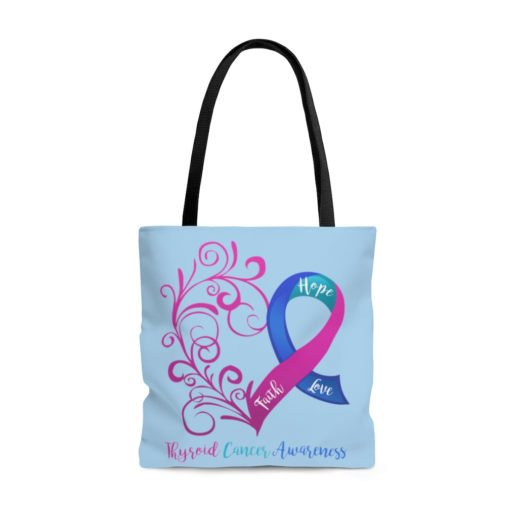 Thyroid Cancer Awareness Large Light Blue Tote Bag (Dual-Sided Design)