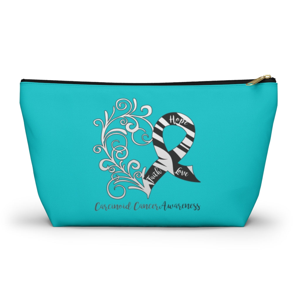 Carcinoid Cancer Awareness Large T-Bottom Accessory Pouch (Dual-Sided Design)