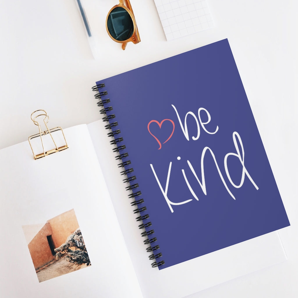 be kind Heart Royal Blue Spiral Journal - Ruled Line