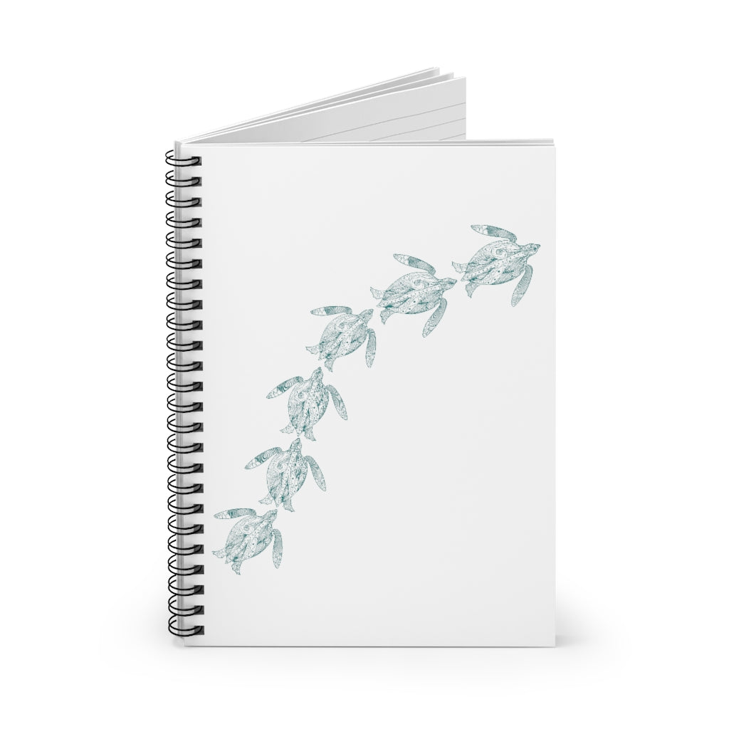 Swimming Sea Turtles Spiral Journal - Ruled Line