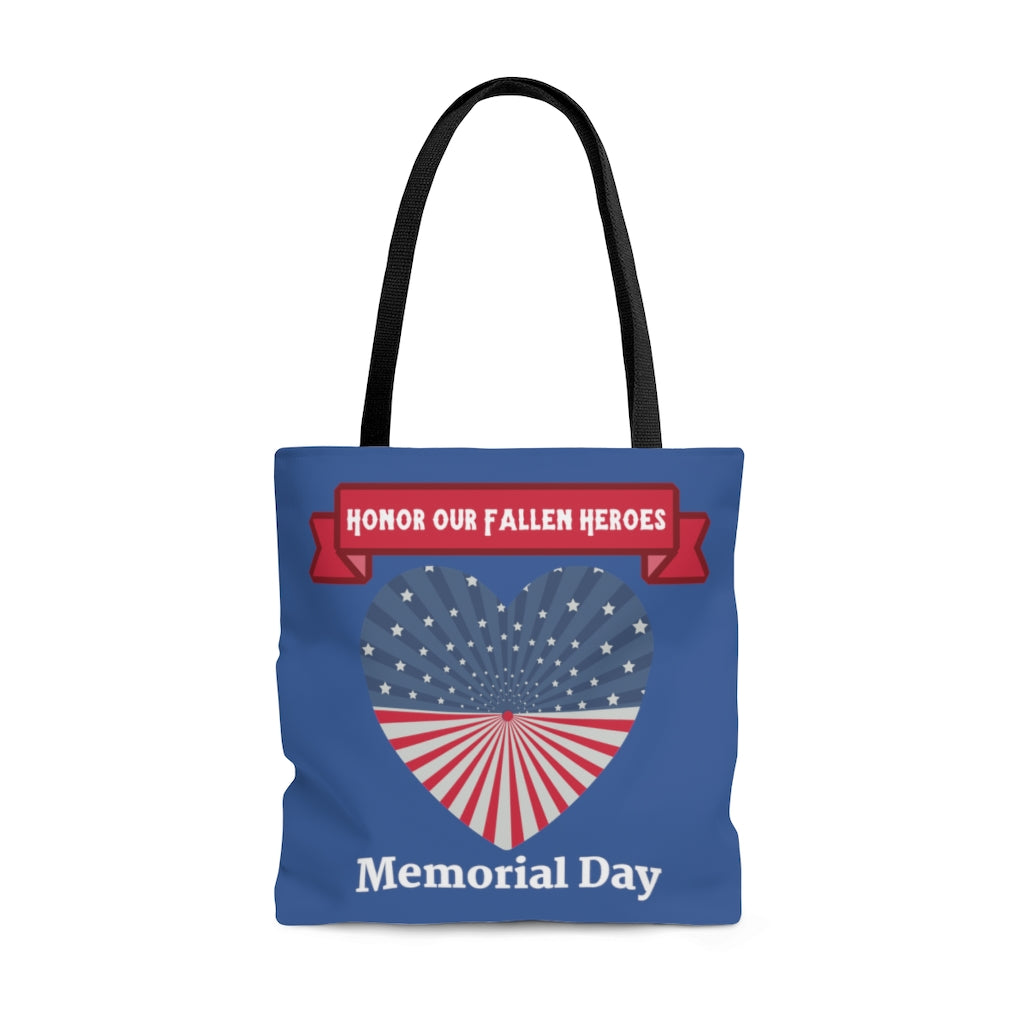 Memorial Day Large Blue Tote Bag (Dual-Sided Design)