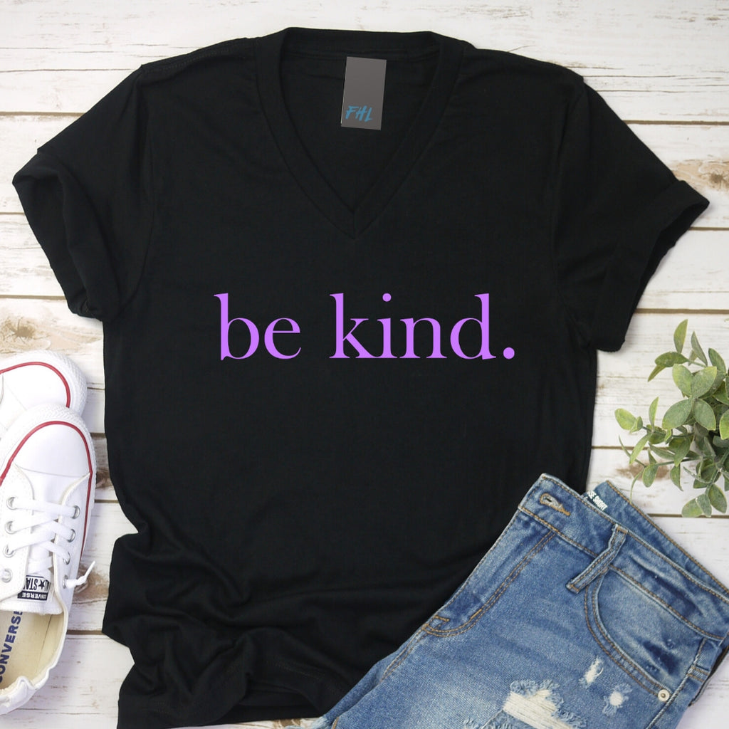 be kind. Light Purple V-Neck T-Shirt