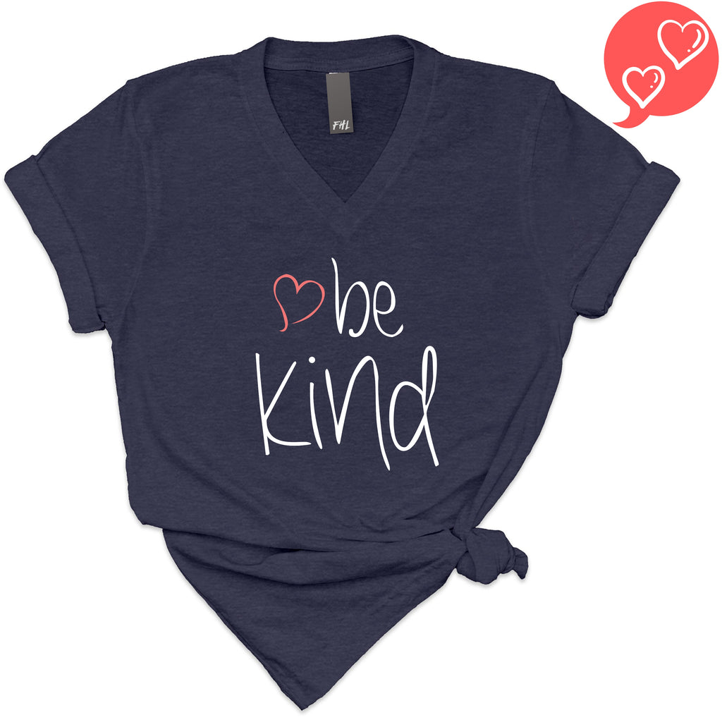 be kind Heart Heather Navy V-Neck T-Shirt (Quick Ship)