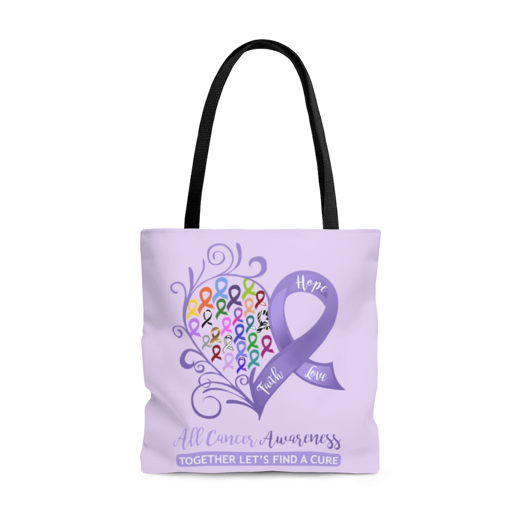 All Cancer Awareness Heart Large Lavender Tote Bag (Dual-Sided Design)